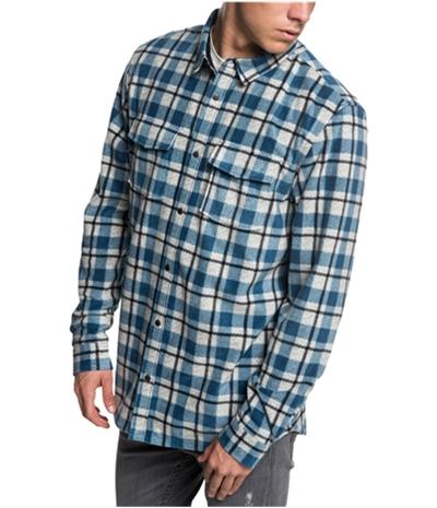 Quiksilver Mens Plaid Fleece Button Up Shirt