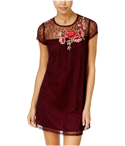 Speechless Womens Applique Illusion A-Line Dress
