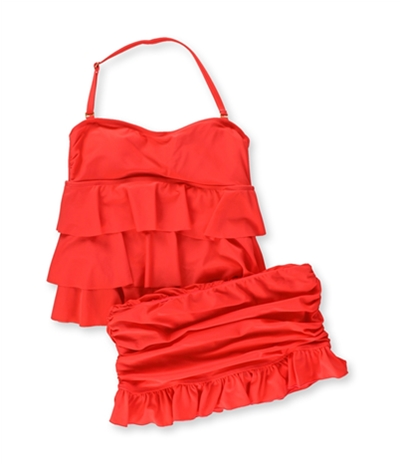 Island Escape Womens Tiered Ruffle Skirt 2 Piece Bikini