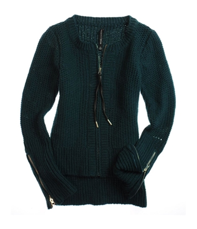 W118 Womens Full Zip Front Cable Knit Sweater