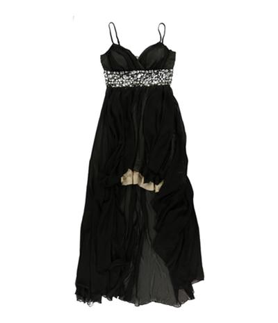 Speechless Womens Rhinestone Asymmetrical Maxi Dress