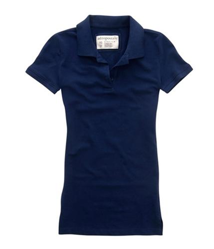 Aeropostale Womens Basic Solid Polo Shirt navynightblue XS