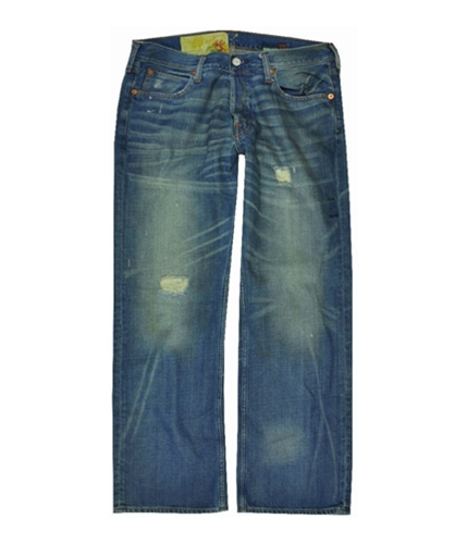 Hollister Mens Destroyed Boot Cut Jeans dark 28x30
