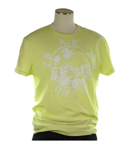 American Eagle Outfitters Mens Big Island Graphic T-Shirt lightgreen XL