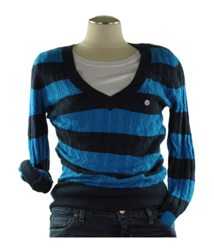 American Eagle Outfitters Womens Stripe Cable Cardigan Sweater blue XS