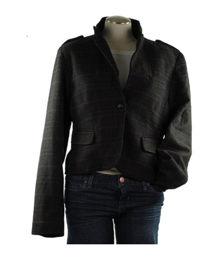 American Eagle Outfitters Womens Plaid One Button Blazer Jacket 915 XS