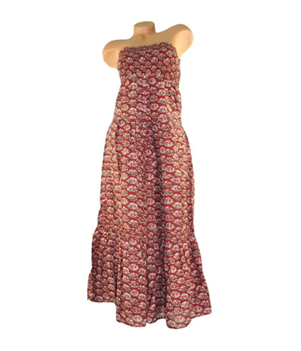 American Eagle Outfitters Womens Floral Full Length Halter Sundress burgundy XS