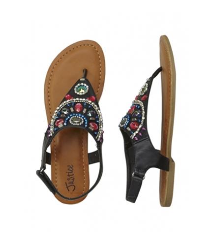 Justice Girls Strappy Rhinestone Comfort Sandals