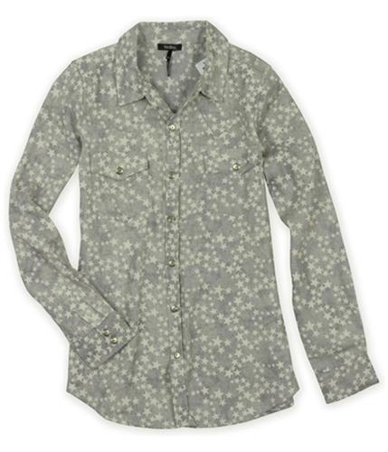 Nollie Mens Star Pattern Button Up Shirt 004 XS