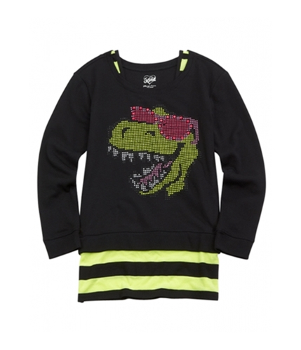 Justice Girls Studded Dino Pullover Sweater 647 18 1/2