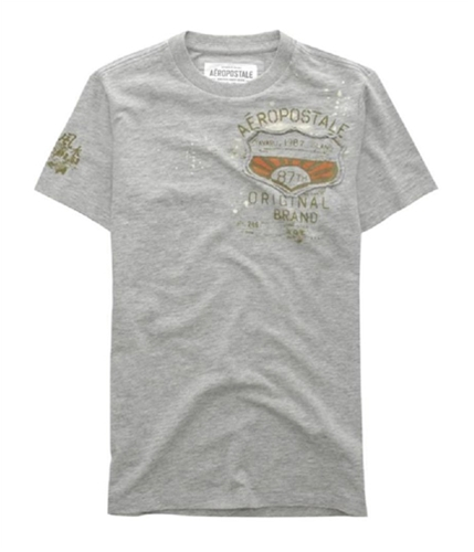 Aeropostale Mens Embroidered 87th Graphic T-Shirt lththrgray L