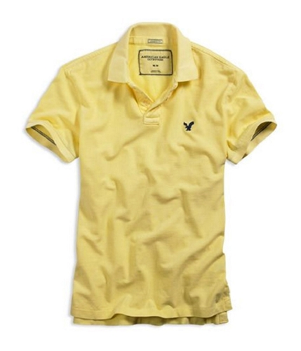 American Eagle Outfitters Mens Athletic Fit Ae Rugby Polo Shirt lightyellow 2XL