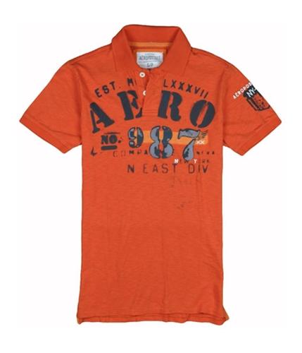 Aeropostale Mens Aero No. 987 Rugby Polo Shirt tahitiaorange XS