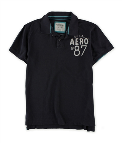 Aeropostale Mens So-cal 1987 Solid Color Rugby Polo Shirt black 2XL