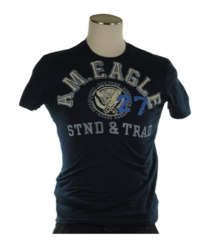 American Eagle Outfitters Mens Felt Graphic T-Shirt blue XS