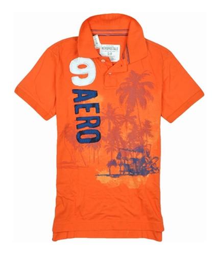 Aeropostale Mens 9 Aero Rugby Polo Shirt orange S