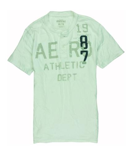 Aeropostale Mens Embroidered Graphic 87 Henley Shirt bleach 2XL