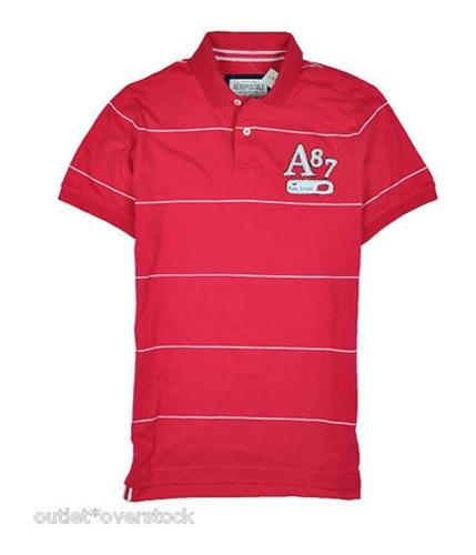 Aeropostale Mens A87 Reg Issue Stripe Rugby Polo Shirt black XL