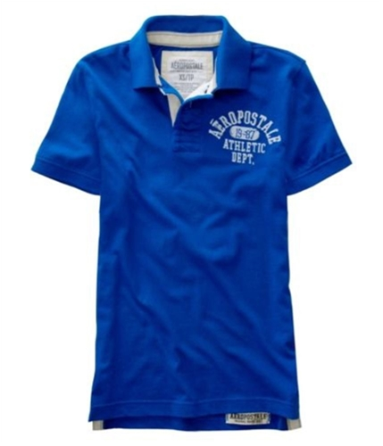 Aeropostale Mens # 9 Athletic Dept Rugby Polo Shirt reefblue XS