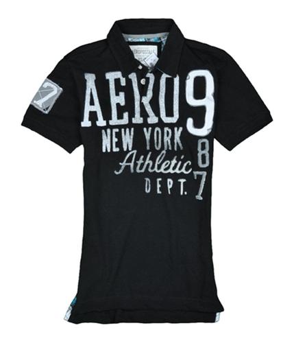 Aeropostale Mens Aero 987 Rugby Polo Shirt black S