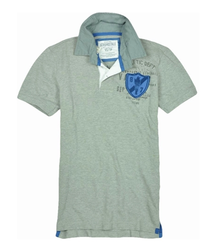Aeropostale Mens Embroidered Athletic Dept Rugby Polo Shirt lththrgray XS