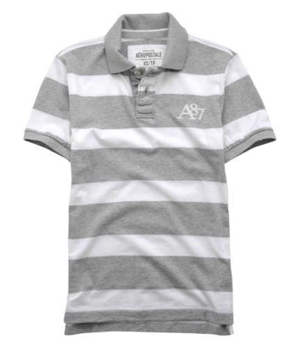 Aeropostale Mens A87 Logo Stripe Rugby Polo Shirt lththrgray M