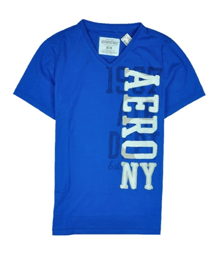 Aeropostale Mens Embroidered Aero V-neck Graphic T-Shirt reefblue M