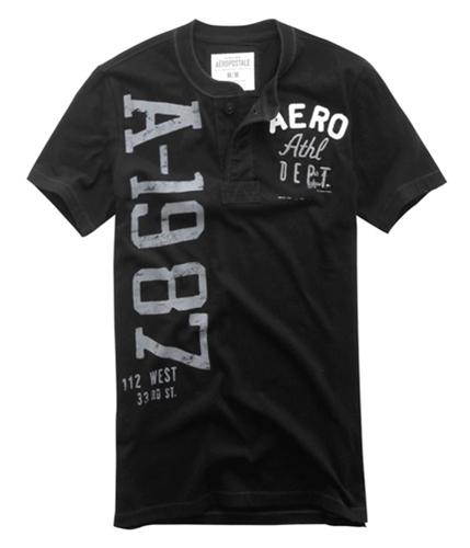 Aeropostale Mens Aero 1987 Henley Shirt black XS