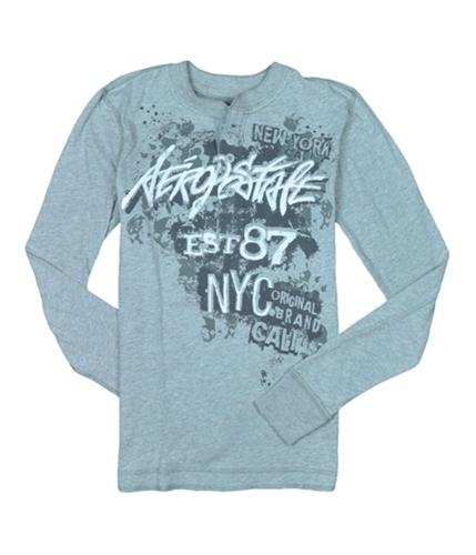 Aeropostale Mens Long Sleeve Graphic Henley Shirt lththrgray XS