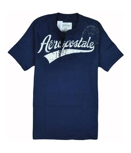 Aeropostale Mens Screenprint Henley Shirt navyblue XS