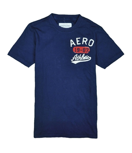 Aeropostale Mens 19-87 Varsity Crew Graphic T-Shirt navyblue XS