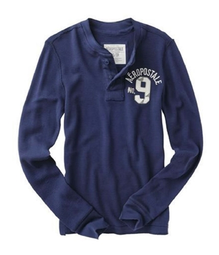 Aeropostale Mens No. 9 Thermal Henley Sweater navyblue S