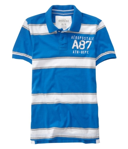 Aeropostale Mens A87 Ath-dept. Rugby Polo Shirt reefblue XL