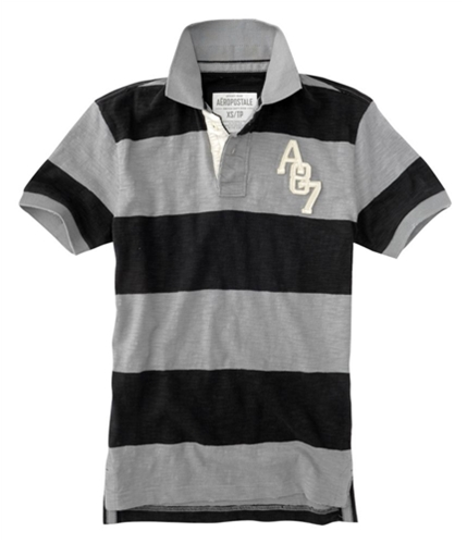 Aeropostale Mens Stripe A87 Rugby Polo Shirt nickelgray XS