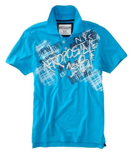Aeropostale Mens Est 1987 Rugby Polo Shirt bahamaaqua XS
