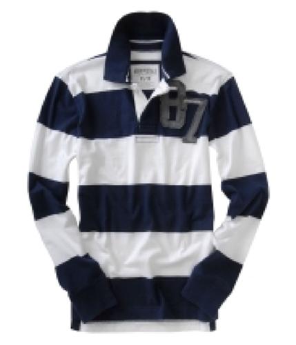 Aeropostale Mens Long Sleeve Rugby Polo Shirt navyblue L
