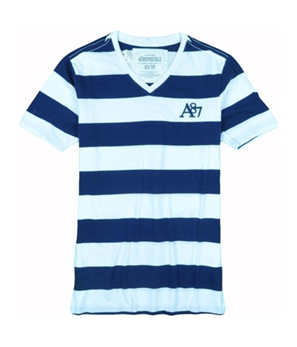 Aeropostale Mens Stripe A87 V-neck Graphic T-Shirt navybluewhite M
