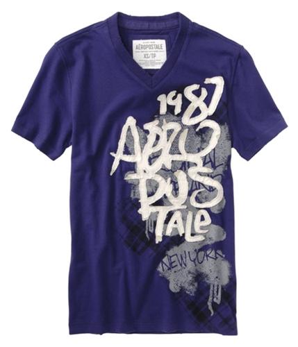 Aeropostale Mens Embroidered V-neck Graphic T-Shirt purpleblue L