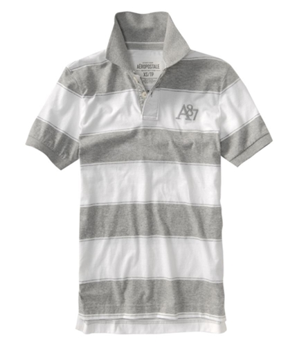 Aeropostale Mens Stripped A87 Logo Rugby Polo Shirt lththrgray S
