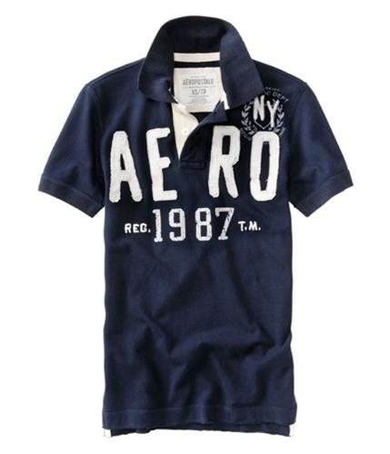 Aeropostale Mens Aero 1987 Rugby Polo Shirt navyblue XS