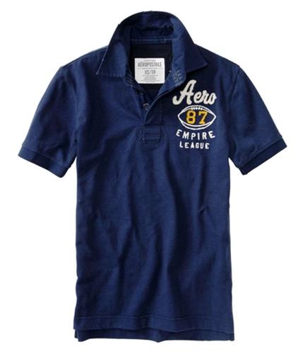 Aeropostale Mens 87 Empire League Rugby Polo Shirt navyblue XS