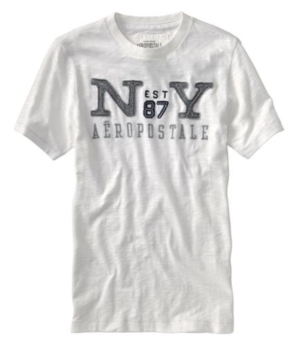 Aeropostale Mens N Est 87 Y Embroidered Graphic T-Shirt bleachwhite XS