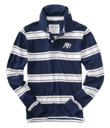 Aeropostale Mens A87 Long Sleeve Rugby Polo Shirt navyblue XS