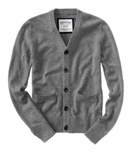 Aeropostale Mens Button Sweater Vest mediumgray XL