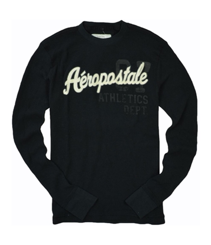 Aeropostale Mens Graphic Thermal Knit Sweater black XS
