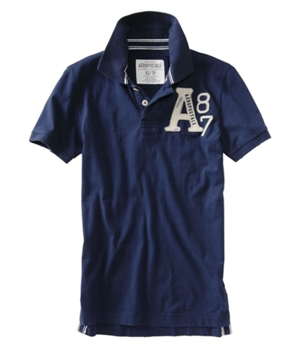 Aeropostale Mens Embroidered A87 Rugby Polo Shirt navyblue XS