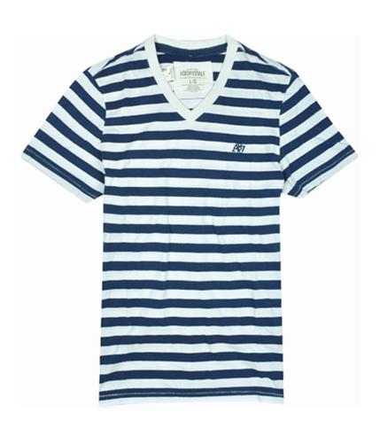 Aeropostale Mens Stripe A87 Logo V-neck Graphic T-Shirt bluestripe L