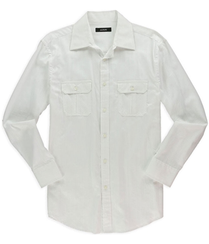 Alfani Mens Solid Dobby Button Up Dress Shirt