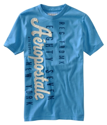 Aeropostale Mens Embellished Screen Print Graphic T-Shirt sportyblues XS
