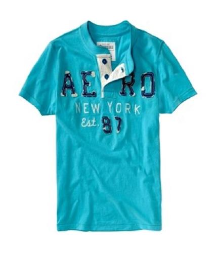 Aeropostale Mens Embellished Aero Ny Est. 87 Henley Shirt brtaqua XL